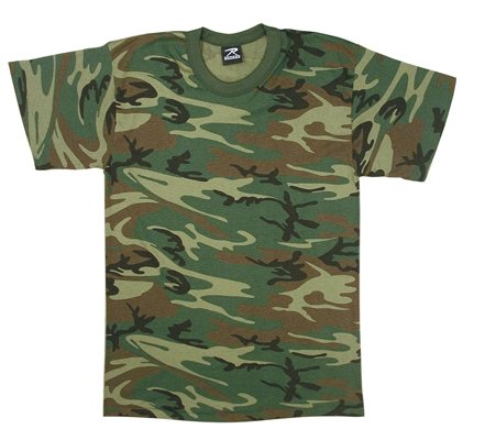 Woodland Camouflage Army T-Shirt 8777 Size L - Woodland Camouflage Tee T-shirt Top