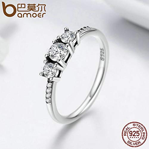 Amazon.com: JEWH Real 100% 925 Sterling Silver Fairytale Sparkling Ring - Clear CZ Finger Ring for Women - Luxury Engagement Proposal Jewelry (8): Arts, ...