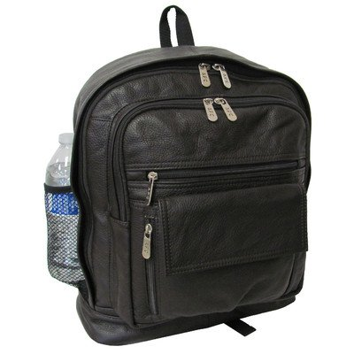 AmeriLeather Traditional Leather Backpack (Dark Brown) - Back Traditional Leather