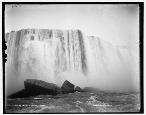 Photo: Horseshoe Falls,Niagara River,rocks,water,New York,NY,Ontario,Canada,1890