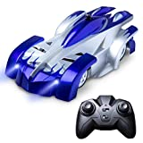 zero gravity remote control car - Force1 Mini RC Car Wall Climbing Car – 4 Assorted Colors Fast Remote Control Car for Boys and Girls w/ USB RC Car Charger for RC Cars for Kids (Blue)