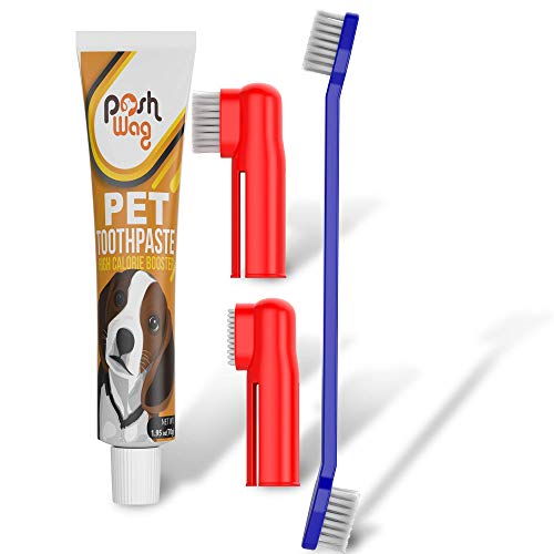 Dog Toothpaste and Toothbrush Set [REMOVES FOOD DEBRIS] Double Sided with Long Curved Handle [SUPER EASY CLEANING] - Best Soft Silicone Pet Toothbrush for Cats And Dogs [EXPANDABLE FINGER ENTRY] - Sma ()