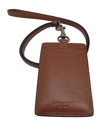 COACH Sport Calf Leather Lanyard Badge Holder ID Case in Dark Saddle Brown 58114
