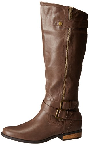 (Rampage Women's Hansel Zipper and Buckle Knee-High Riding Boot,Brown Sm Brown Smooth,11 B(M) US Reg Calf)