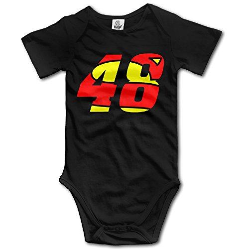 Jimmie Johnson 48 Logo Kids Short Sleeve Onesie Bodysuit Black