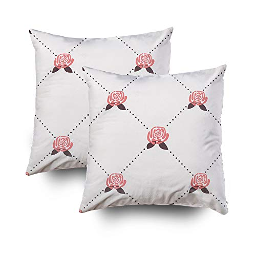 Diamond Toss Wallpaper - Pillows Case Standard Size,Seamless Pattern with Roses Wallpaper with Polka dot rhombusCapsceoll 18x18 Set of 2 Pillow Covers,Home Decoration Pillow Cases Zippered Covers Cushion