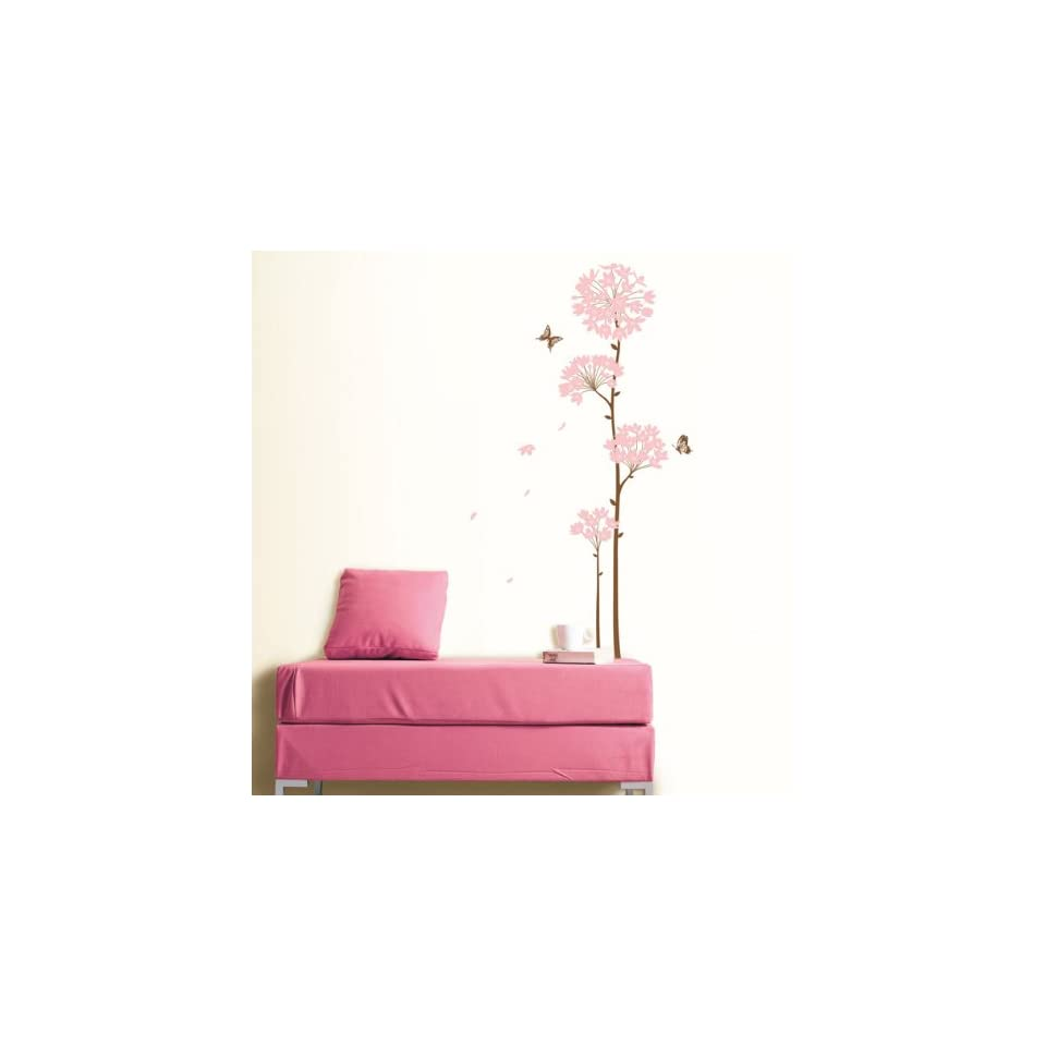 Modern House Pink Long Stem Bloom Flower removable Vinyl Mural Art Wall Sticker Decal