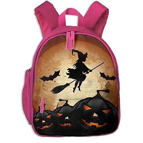 Halloween Whitch And Pumpkin Double Zipper Waterproof Children Schoolbag With Front Pockets For Teens Boy Girl