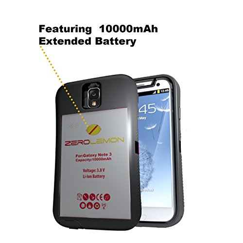 [180 Days Warranty] Zerolemon Samsung Galaxy Note 3 10000mah Extended Battery + Zeroshock Shockproof Rugged Case. Includes 10000mah Battery, Holster Kickstand, with Screen Protector Hybrid Cover