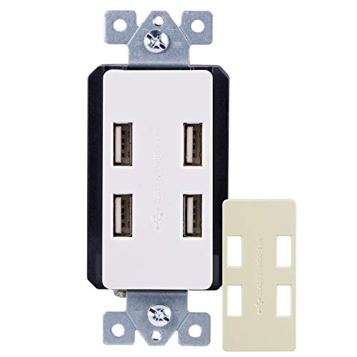 GE Ultra Pro USB Wall Receptacle, 4 USB Outlet, Charging Station, USB Wall Outlet, Changeable Faceplate, UL Listed, White/Light Almond, ()