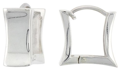 Sterling Silver Huggie Earrings Square Shape Flawless Finish, 9/16 inch