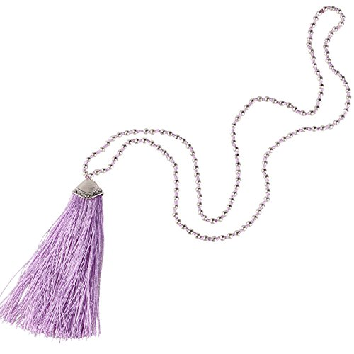 Plated Silver Pendant Fashion (KELITCH Silver Plated Round Beaded Necklaces Handmade Color Tassel Long Pendants Necklace Fashion 32