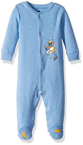 Hurley Baby Boys Footed Coverall, light blue heather pockets, 9M