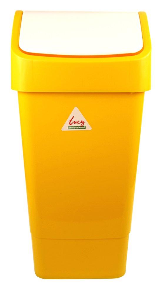 Yellow Lucy CL050-YL Polypropylene Swing Top Bin 50 L Capacity