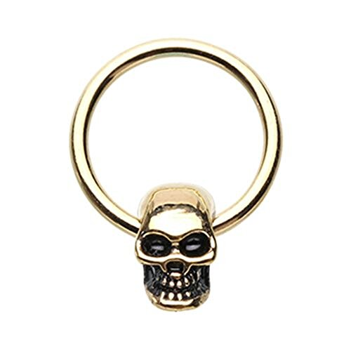 Golden Skull Head WildKlass Captive Bead Ring (16 GA 3/8