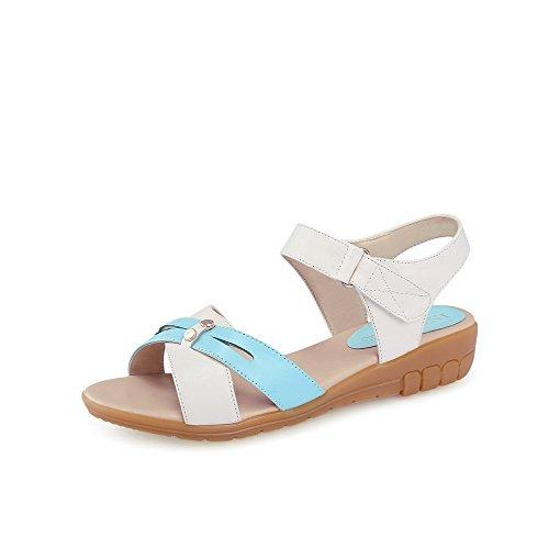 AgooLar Mujeres Velcro Puntera Abierta Mini Tacón Colores Surtidos Sandalia Azul