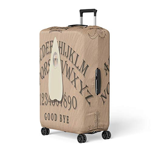Pinbeam Luggage Cover Brown Angel Ouija Board Cardboard Contact Demon Devil Travel Suitcase Cover Protector Baggage Case Fits 18-22 inches