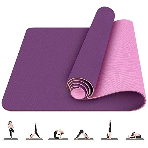 Yoga Mats Pilates Exercise Gym Mat 6mm Thick, TPE Workout Fitness Equipment Non Slip Mats for Men and Women Yoga Pilates…