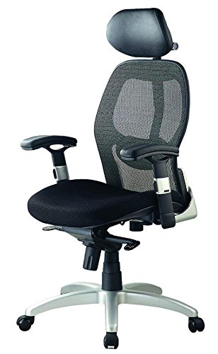 Office Chair Backrest with Black Mesh Seat & Headrest with Black Fabric, Knee Tilt Mechanism Thick Seat Cushion - Adjustable Head & Arm Rests, Seat Height - Reclines