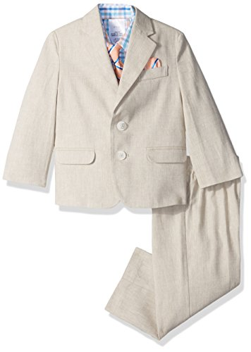 Nautica Boys' 4-Piece Suit Set with Dress Shirt, Tie, Jacket, and Pants, Light Khaki, 6