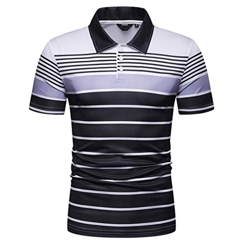TANGSen Men's Short Sleeve Stripe Painting Top Large Size Classic Casual Tops Summer Blouse Shirts Polo Shirt 544 Gray