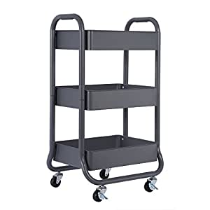 DESIGNA Metal Rolling Storage Cart 3 Tiers Utility Mobile Organization Cart with Handles Suitable for Office Home Kitchen or Outdoor, Gray