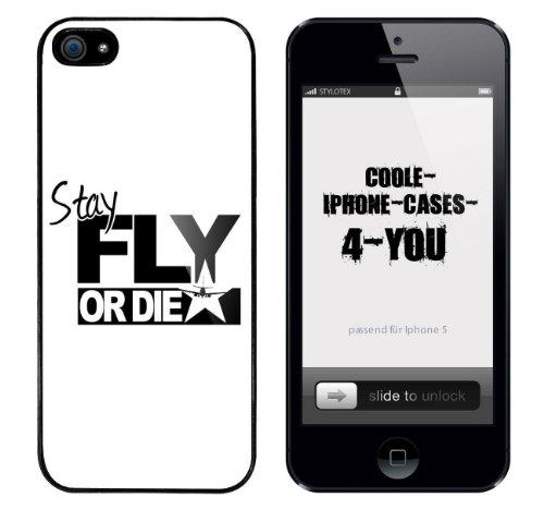 Iphone 5 / 5S Schutzhülle Stay Fly or Die - schwarzer Rahmen