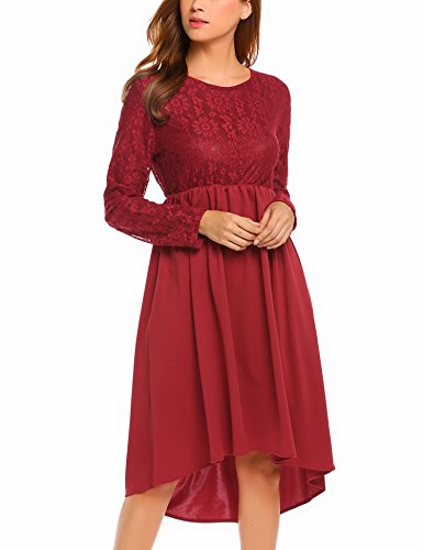 Beyove Women's Elegant Floral Lace Long Sleeve High Low Bridesmaid Prom Dress dark red (Asymmetrical Floral Dress)