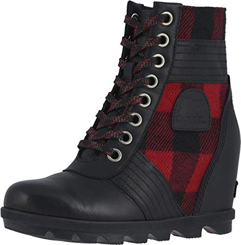 Sorel - Women's Lexie Wedge Waterproof Lace-Up Ankle Boot, Tartan/Black, 7.5 M US (With Women Rain Boots Wedge)