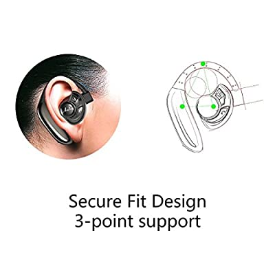 Wireless Earbuds, AMINY True Wireless Stereo Bluetooth 4.2 Dual Headphones Cordless Sweatproof In-Ear Headset with Mic, 8 Hours Battery life, Secure Fit for Sports - Black