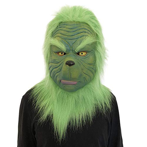 Hisoul Scary Party Mask Melting Face Latex Costume Collectible Prop Cosplay Grinch Mask with Green Fur for Any Occasion, Theme Party, Birthday Party, Masquerade Party - Shipped from US ( A)