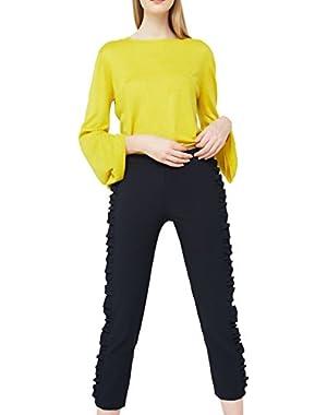 Mango Women's Ruffled Trims Trousers