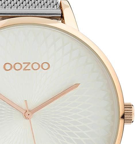 Oozoo C10551 - Orologio da donna con cinturino in acciaio inox e quadrante Mandala, 48 mm, colore: Argento/Rosa