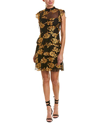 (Romeo & Juliet Couture Womens Embroidered Sheath Dress, S Black/Gold)
