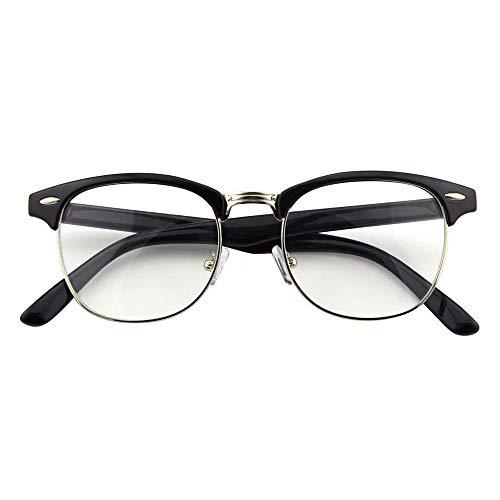Happy Store CN56 Vintage Inspired Classic Horn Rimmed Half Frame Nerd UV400 Clear Lens Glasses,Glossy Black ()