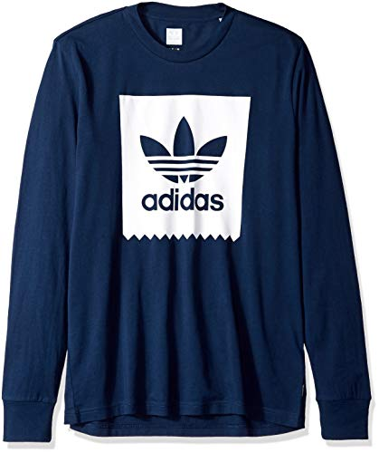 adidas Originals Men's Skateboarding Long Sleeve Blackbird Tee, Collegiate Navy/White, M