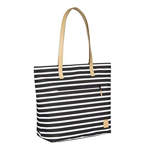 Lässig LTOB10376 casual Tote Bag diseño de rayas y flores negro negro