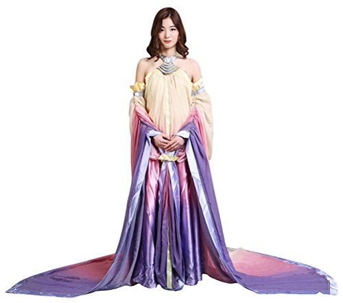 (COSKING Queen Amidala Costume for Women, Deluxe Halloween Cosplay Dress)