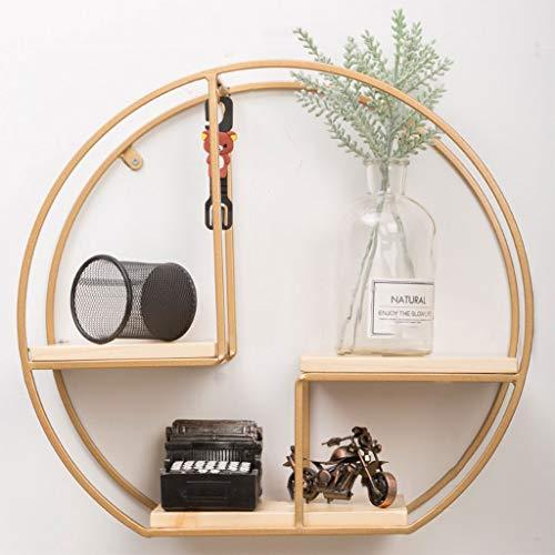 Floating Shelf Frame Shelves Wall Mounted Wooden Bookshelf Wall Industrial Modern Rack (Circle) (Color : Gold)