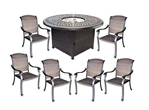 7 Piece Fire Pit Patio - Santa Clara wicker furniture cast aluminum fire pit propane 7 piece patio dining set.