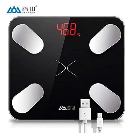 WWeiweian Báscula electrónica USB Recargable Escala de Grasa Corporal Inteligente Cuerpo pesaje doméstico Escala de Peso