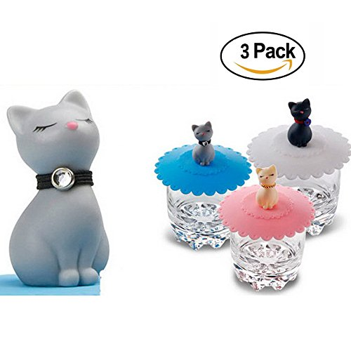 Tangser Silicone Cats Cup Lid, Anti-dust Tea Cup Covers,Coffee Mug Cover(Cat, 3 pcs) Loving Trophy Cup