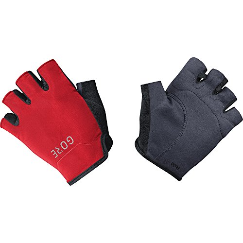 (GORE Wear Men's Breathable Cycling Short Finger Gloves, GORE Wear C3 Short Finger Gloves, Size: M, Color: Black/Red, 100119)
