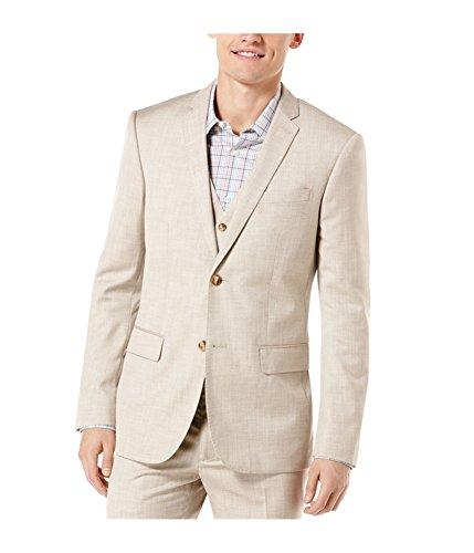 Perry Ellis Mens Textured Herringbone Two Button Blazer Jacket, Beige, 46 Regular
