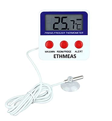 ETHMEAS Digital Refrigerator Fridge Thermometer, Freezer Room Thermometer with High and Low Alarm,Max/Min Record Function