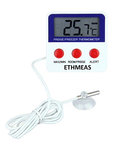 ETHMEAS Digital Refrigerator Fridge Thermometer, Freezer Room Thermometer with High and Low Alarm,Max/Min Record ()
