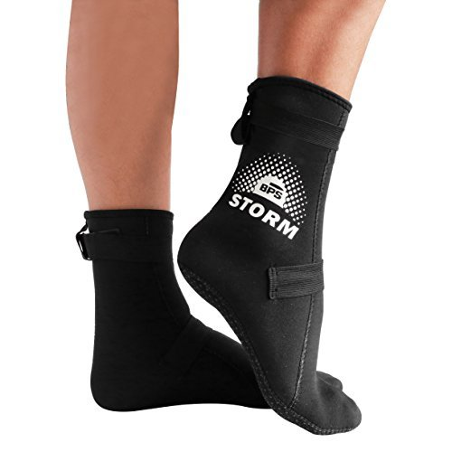 (BPS 'Storm Elite Sock' Neoprene Diving Wetsuit Socks - for Men and Women - Socks for Snorkeling, Beach Volleyball, Surfing, Scuba Diving, Fin Socks - High Cut (Black/White, XL))