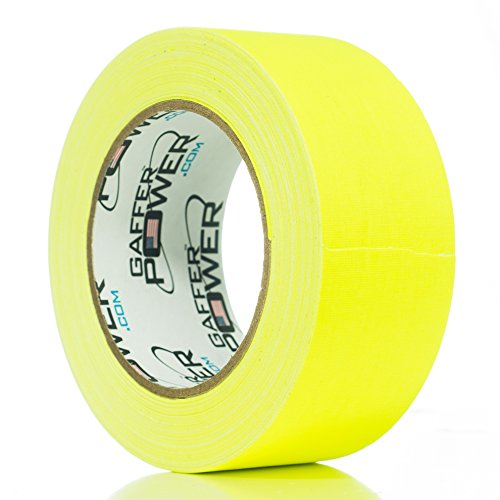 Yellow Gaffers Tape - REAL Professional Grade Gaffer Tape By Gaffer Power, Made in the USA, YELLOW FLUORESCENT 2 Inches by 30 Yards, UV Blacklight Reactive Fluorescent Heavy Duty Gaffers Tape, Non-Reflective, Multipurpose.