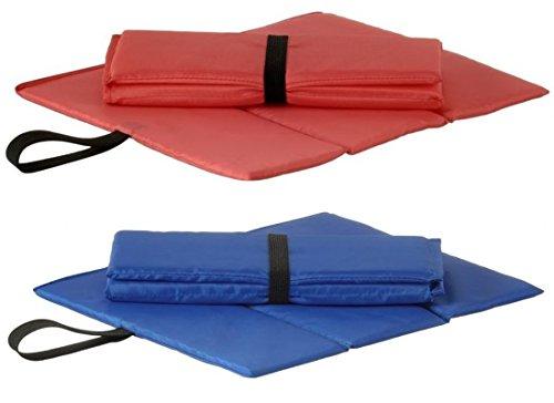 Sitzkissen faltbar mit Halteschlaufe, Blau oder Rot, Perfekt als Stadionkissen, Stuhlkissen, Stuhlauflage (Blau)