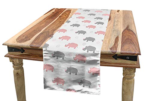 Lunarable Animal Table Runner, Diagonal Pattern of Rhinoceros in Soft Grey and Pink Shades with Dots, Dining Room Kitchen Rectangular Runner, 16 W X 120 L Inches, Pale Pink White and Grey